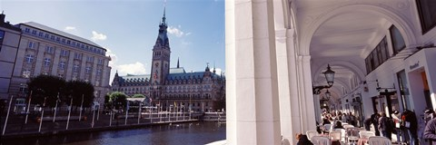 Framed Town hall at the waterfront, Alsterarkaden, Alster Lake, Hamburg, Germany Print
