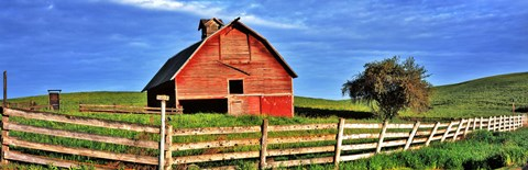 Framed Old barn with fence in a field, Palouse, Whitman County, Washington State, USA Print