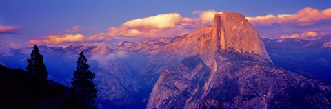 Framed Sunlight falling on a mountain, Half Dome, Yosemite Valley, Yosemite National Park, California, USA Print