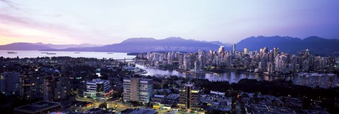 Framed Aerial view of cityscape at sunset, Vancouver, British Columbia, Canada 2011 Print