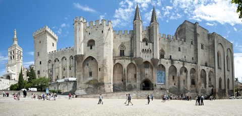 Framed People in front of a palace, Palais des Papes, Avignon, Vaucluse, Provence-Alpes-Cote d'Azur, France Print