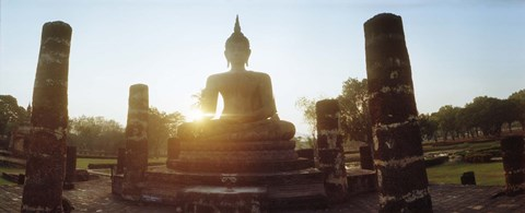Framed Statue of Buddha at sunset, Sukhothai Historical Park, Sukhothai, Thailand Print