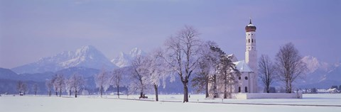 Framed Winter St Coloman Church Schwangau Germany Print