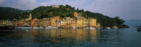 Framed Town at the waterfront, Portofino, Italy Print
