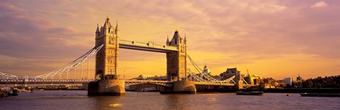 Framed Tower Bridge London England with Orange Sky Print