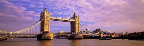 Framed Tower Bridge London England with Purple Sky Print
