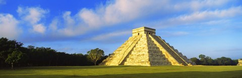 Framed Pyramid in a field, Kukulkan Pyramid, Chichen Itza, Yucatan, Mexico Print