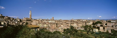 Framed Buildings in a city, Torre Del Mangia, Siena, Tuscany, Italy Print