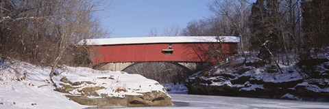 Framed Narrows Covered Bridge Turkey Run State Park IN USA Print