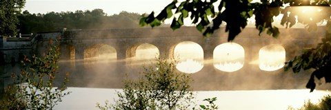 Framed Stone Bridge In Fog, Loire Valley, France Print