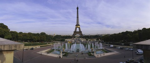 Framed Fountain in front of a tower, Eiffel Tower, Paris, France Print