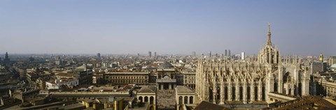 Framed Aerial view of a cathedral in a city, Duomo di Milano, Lombardia, Italy Print