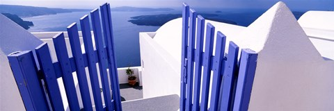 Framed Gate at the terrace of a house, Santorini, Cyclades Islands, Greece Print