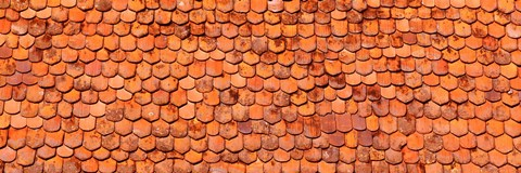 Framed Close-Up Of Old Roof Tiles, Rothenburg, Germany Print