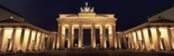 Low angle view of a gate lit up at night, Brandenburg Gate, Berlin, Germany Art