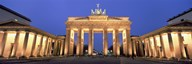 Low angle view of a gate lit up at dusk, Brandenburg Gate, Berlin, Germany Art