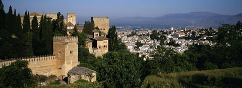 Framed High angle view of palace with a city in the background, Alhambra, Granada, Andalusia, Spain Print