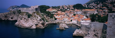 Framed Town at the waterfront, Lovrijenac Fortress, Bokar Fortress, Dubrovnik, Croatia Print