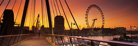 Framed Bridge with ferris wheel, Golden Jubilee Bridge, Thames River, Millennium Wheel, City Of Westminster, London, England Print