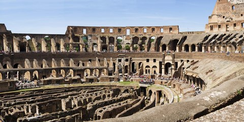 Framed Interiors of an amphitheater, Coliseum, Rome, Lazio, Italy Print