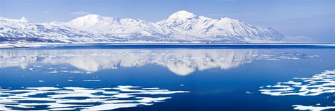 Framed Reflection of a mountain range in an ocean, Bellsund, Spitsbergen, Svalbard Islands, Norway Print