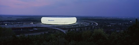 Framed Soccer stadium lit up at nigh, Allianz Arena, Munich, Bavaria, Germany Print