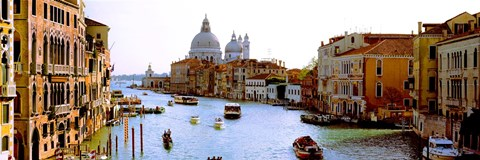 Framed Boats in a canal with a church in the background, Santa Maria della Salute, Grand Canal, Venice, Veneto, Italy Print