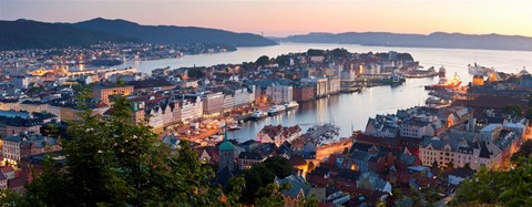 Framed Buildings in a city, Bergen, Hordaland County, Norway Print