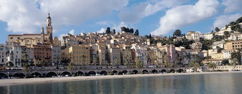 Framed Buildings at the waterfront, Menton, French Riviera, Alpes-Maritimes, Provence-Alpes-Cote D'Azur, France Print