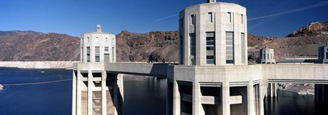 Framed Dam on a river, Hoover Dam, Colorado River, Arizona-Nevada, USA Print