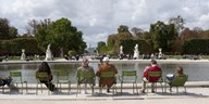Tourists sitting in chairs, Jardin de Tuileries, Paris, Ile-de-France, France Art