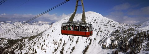 Framed Overhead cable car in a ski resort, Snowbird Ski Resort, Utah Print