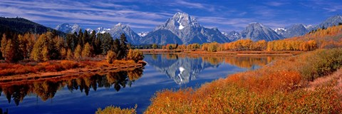 Framed Reflection of mountains in the river, Mt Moran, Oxbow Bend, Snake River, Grand Teton National Park, Wyoming, USA Print
