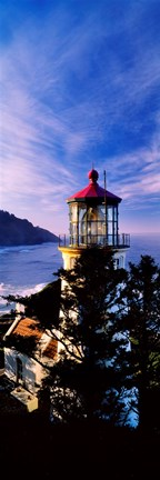 Framed Lighthouse at a coast, Heceta Head Lighthouse, Heceta Head, Lane County, Oregon (vertical) Print