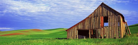 Framed Dilapidated barn in a farm, Palouse, Whitman County, Washington State, USA Print