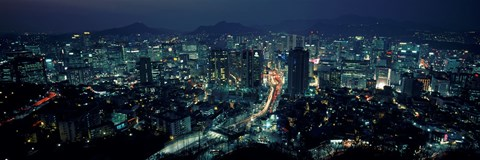 Framed Aerial view of a city, Seoul, South Korea 2011 Print