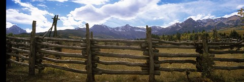 Framed Fence in a field, State Highway 62, Ridgway, Colorado Print
