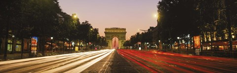 Framed Traffic on the road, Avenue des Champs-Elysees, Arc De Triomphe, Paris, Ile-de-France, France Print
