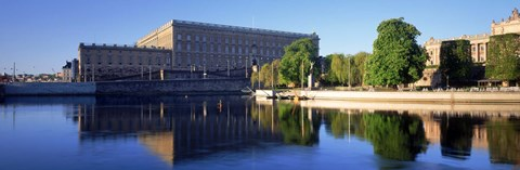 Framed Reflection of a palace in water, Royal Palace, Stockholm, Sweden Print