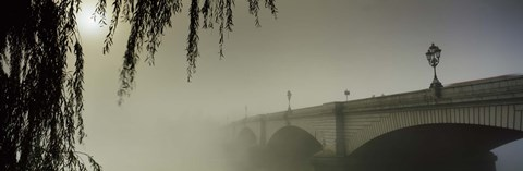 Framed Putney Bridge during fog, Thames River, London, England Print