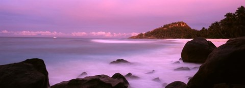 Framed Sunset over main beach on North Island, Seychelles Print