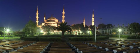 Framed Mosque lit up at night, Blue Mosque, Istanbul, Turkey Print