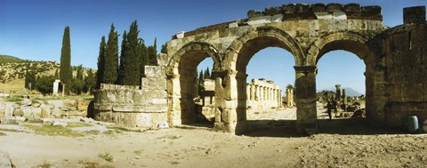 Framed Arched facade in ruins of Hierapolis at Pamukkale, Anatolia, Central Anatolia Region, Turkey Print