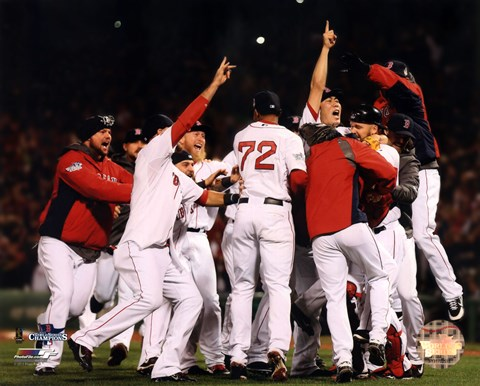 Framed Boston Red Sox celebrate winning Game Six of the 2013 World Series Print