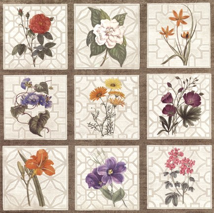 Framed Monument Etching Tile Flowers Square I Print