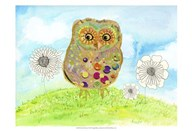 Owl & Flowers Art