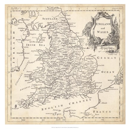 Framed Map of England & Wales Print