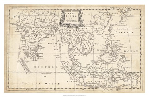 Framed Map of East Indies Print