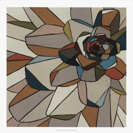 Framed Stained Glass Floral I Print