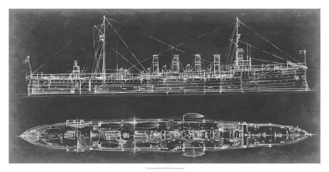 Framed Navy Cruiser Blueprint Print